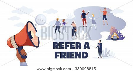 Referral Marketing. Creative Advertising Concept Refer Friend Loyalty Program, Cartoon Promoting Cha