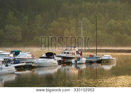 Liptovska Mara, Slovakia - June 25, 2019: Boats In A Marina In Liptovska Mara Water Reservoir, North