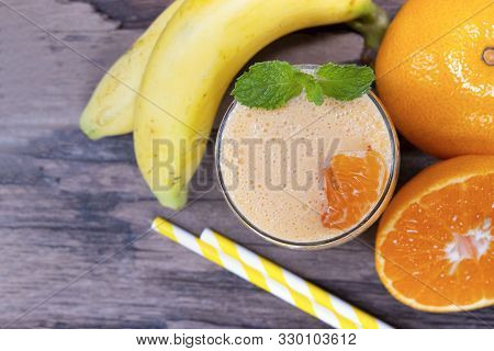 Banana And Orange Smoothies Yellow Colorful Fruit Juice Milkshake Blend Beverage Healthy High Protei
