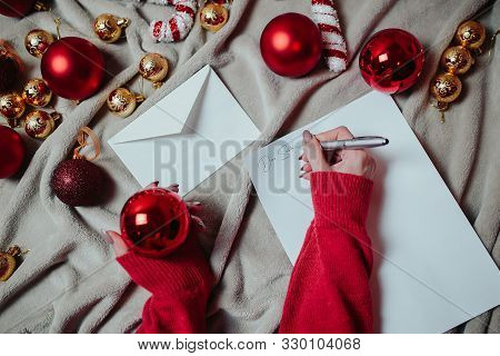 Letter To Santa. Flat Lay With Red Christmas Balls, Golden Christmas Balls And Christmas Candy Canes