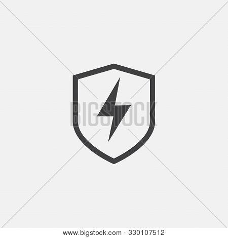 Creative Electric Shield Logo Design Template, Modern Vector Symbol Of Electric Power Protection, Bo