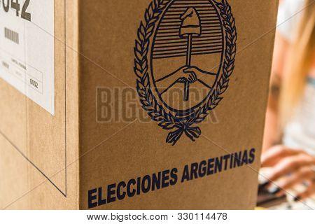 Buenos Aires, Argentina - October 27, 2019: Ballot Box At Presidential Election