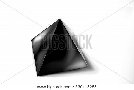 Mockup Of Blank Glossy Black Pyramid Or Polyhedron 3d. Icon Abstract Symbol. Template Vector Illustr