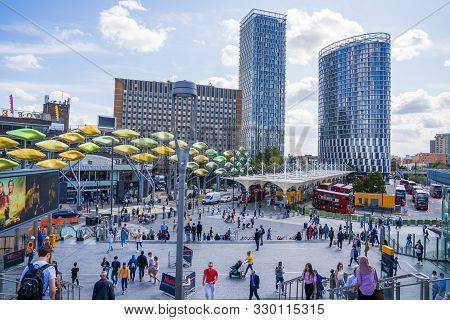 London - August 28, 2019: Time Lapse View Of The Shoppers Head Towards The Stratford Centre Near Str
