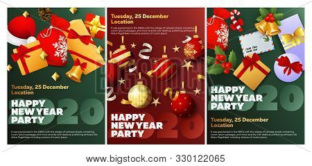 Happy New Year Party Green, Red Banner Set With Gifts. New Year, Christmas, Winter. Calligraphy With