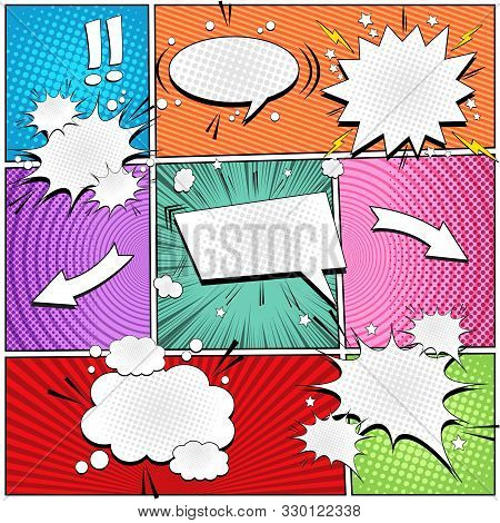 Comic Bright Composition With Blank Speech Bubbles Of Different Shapes Arrows Stars Exclamation Poin