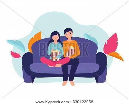 Couple Woman And Man At Home Sitting On Sofa, Watching Movie And Eating Popcorn Together. Flat Vecto