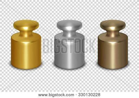 Vector 3d Realistic Metal Golden, Silver, Bronze Calibration Laboratory Weight Icon Set Closeup Isol