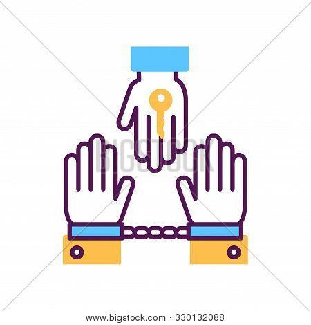 Criminal Court Line Color Icon. Judicial Verdict Innocent. Convicted Man In Handcuffs Concept. Law J