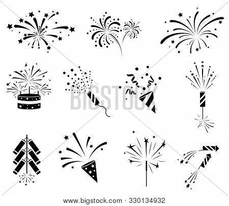 Firework  Icon Set. Firecracker, Petard And Stars. Happy New Year, Holiday And Party Firework Icons