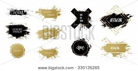 Texting Boxes. Vector Golden Brush Stroke, Brush, Line Or Texture. Quote Box Speech Template. Vector
