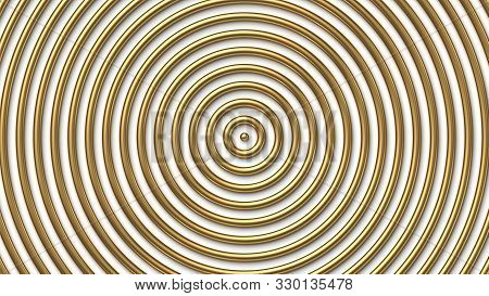 Golden Concentric Circles On White Background. Vector Illustration