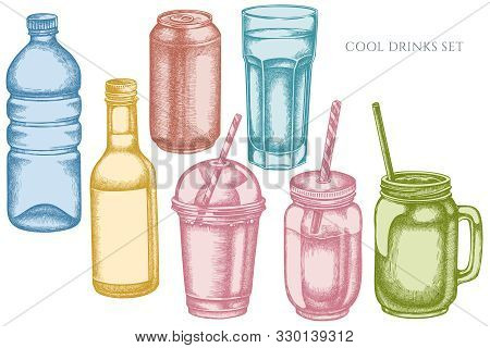 Vector Set Of Hand Drawn Pastel Glass, Plastic Bottle, Bottle Of Lemonade, Smoothie Cup, Aluminum Ca