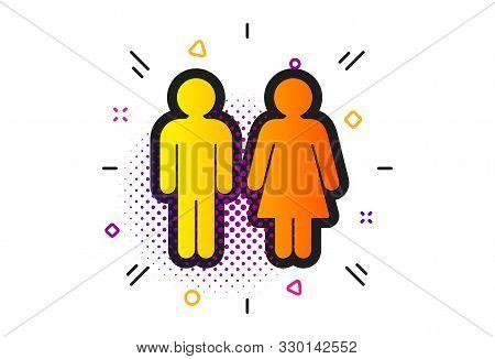 Wc Toilet Sign. Halftone Circles Pattern. Restroom Icon. Public Lavatory Symbol. Classic Flat Restro