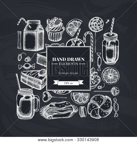 Square Design With Chalk Cinnamon, Macaron, Lollipop, Bar, Candies, Oranges, Buns And Bread, Croissa