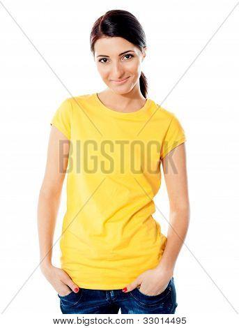 Trendy Teen Girl Half Length Portrait