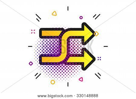 Shuffle Sign Icon. Halftone Dots Pattern. Random Symbol. Classic Flat Shuffle Icon. Vector