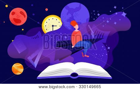 Reading Or Studying Concept With Red-headed Girl Student, Sitting And Dreaming Among Stars And Plane