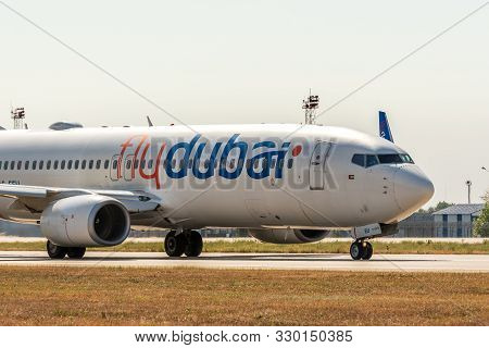Kyiv, Ukraine - September 10, 2019: Fly Dubai Plane Landed At Airport. Flydubai Is A Low-cost Airlin