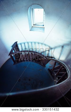 Staircase Of Lighttower With Handrails With Spooky Look, Alappuzha, Kerala, India