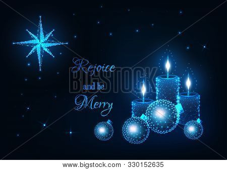 Merry Christmas Greeting Card With Glowing Low Poly Candles, Decorative Baubles, Bethlehem Star.