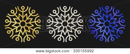 Glitter Snowflakes On Dark Background. Set Of  Three Gold, Silver And Blue Glitter Snowflakes. Chris