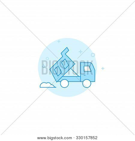 Dump Truck Dumps Pile Of Sand Or Dirt Vector Icon. Flat Illustration. Filled Line Style. Blue Monoch