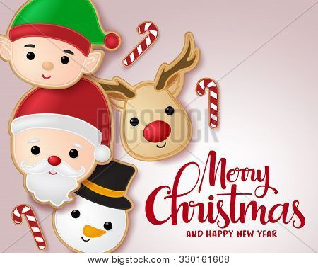 Christmas Gingerbread Cookie Vector Banner Template. Merry Christmas Typography Greeting With Ginger