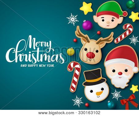 Christmas Elements Vector Banner Template. Merry Christmas Greeting Typography In Blue Empty Space W