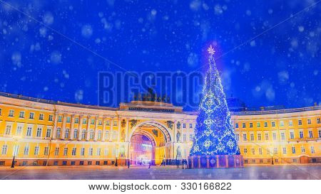 Saint Petersburg Is Decorated For The New Year. New Year Tree On The Palace Square In St. Petersburg