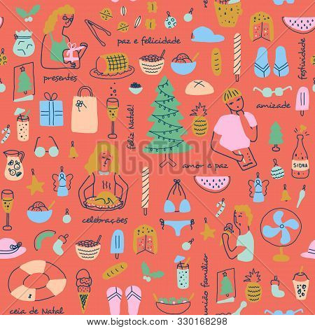 Latin Summer Christmas In Brasil,with People And Text In Portuguese.seamless Pattern.