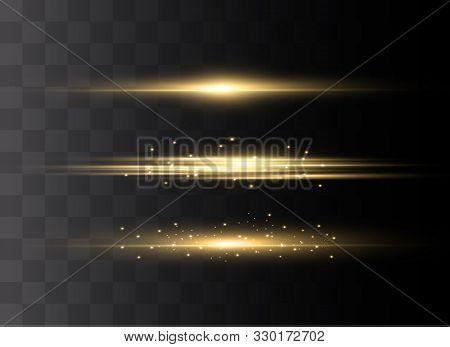 Yellow Horizontal Lens Flares Pack. Laser Beams, Horizontal Light Rays.beautiful Light Flares. Glowi
