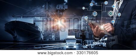 Global Business Of Container Cargo Freight Train For Smart Business Logistics And Transportation Con