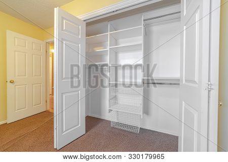 Empty White Built In Closet Or Wardrobe Interior