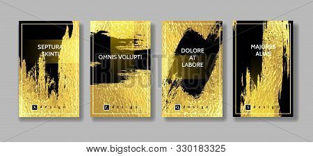 Black Grunge On Gold Foil. Metallic Gold Glitter Brush Or Paint Stain For Banner And Sticker Isolate