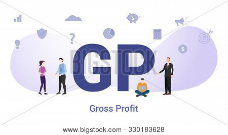 Gp Gross Profit Concept With Big Word Or Text And Team People With Modern Flat Style - Vector Illust