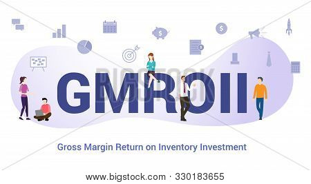 Gmroii Gross Margin Return On Inventory Investment Concept With Big Word Or Text And Team People Wit
