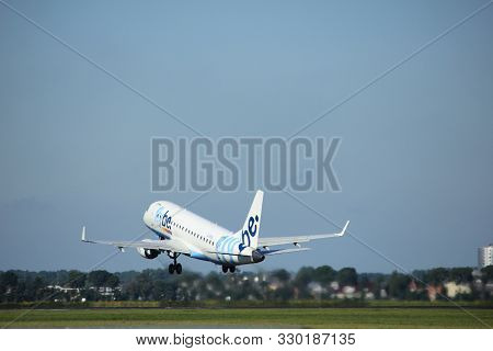 Amsterdam, The Netherlands  - August, 18th 2016:g-fbjd Flybe Embraer Erj-175std, Taking Off From Pol