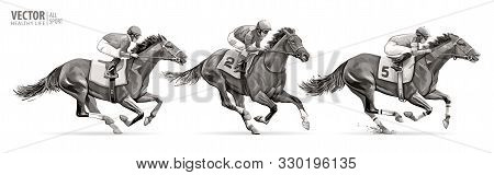 Set. Jockeys On Racing Horses. Sport. Champion. Hippodrome. Racetrack. Equestrian. Derby. Speed. Iso