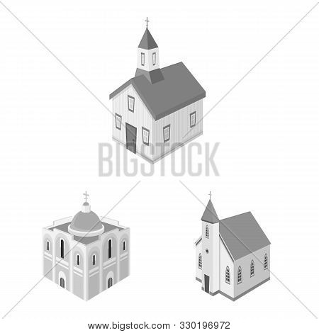 Vector Illustration Of Landmark And Clergy Symbol. Collection Of Landmark And Religion Vector Icon F