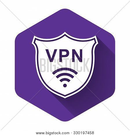 White Shield With Vpn And Wifi Wireless Internet Network Symbol Icon With Long Shadow. Vpn Protect S