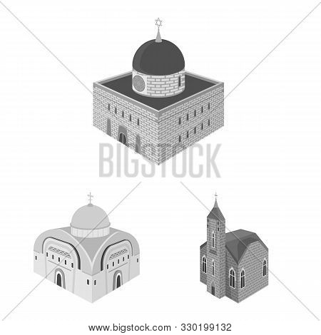 Vector Design Of Landmark And Clergy Symbol. Collection Of Landmark And Religion Stock Vector Illust