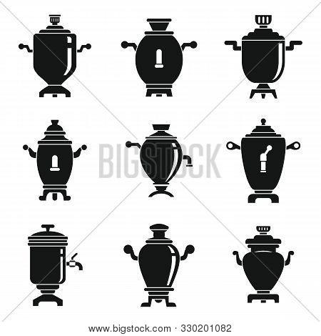 Samovar Icons Set. Simple Set Of Samovar Vector Icons For Web Design On White Background