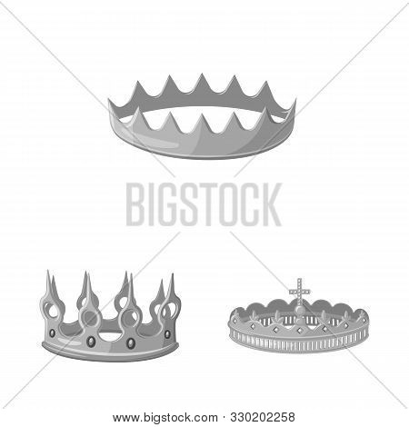 Vector Design Of Jewel And Vip Logo. Set Of Jewel And Nobility Stock Vector Illustration.