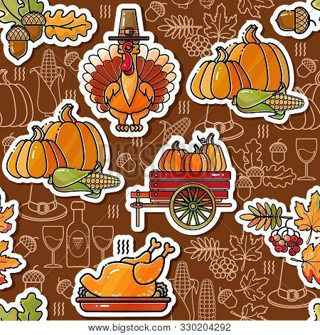 Thanksgiving Holiday Texture. Seamless Pattern With Happy Thanksgiving Stickers. Vector.