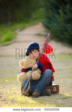 sad lonely unhappy child concept