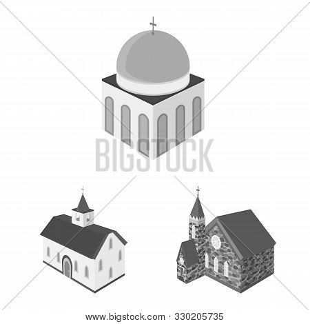 Vector Illustration Of Landmark And Clergy Sign. Collection Of Landmark And Religion Stock Vector Il