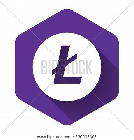 White Cryptocurrency Coin Litecoin Ltc Icon With Long Shadow. Physical Bit Coin. Digital Currency. A