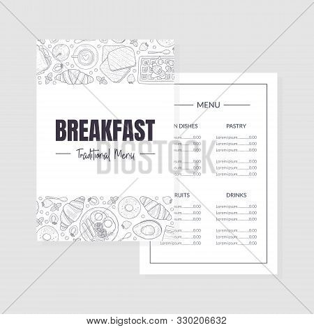 Breakfast Traditional Menu Template, Morning Food Dishes Placemat Brochure Vintage Hand Drawn Vector