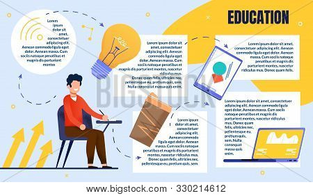 Bright Poster Guy Creative Education In Audience. Guy In Casual Clothes Sits At Table And Ponders Id